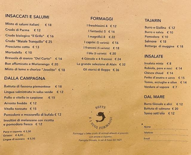 Il menu di Beppe e i suoi formaggi