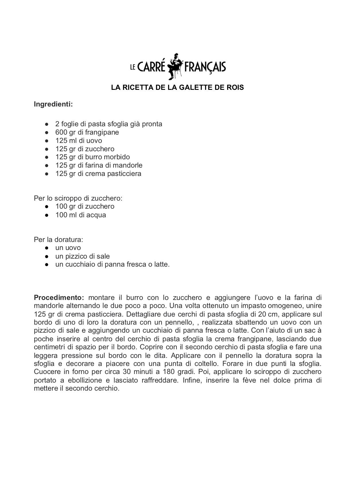 La ricetta de La Galette de Rois di Le Carré Français